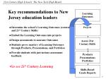 key recommendations to new jersey education leaders