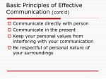 basic principles of effective communication cont d
