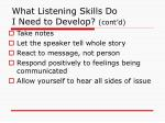 what listening skills do i need to develop cont d
