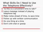 what skills do i need to use the telephone effectively