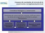 a manera de conclusi n de la teor a de la conservaci n a la implementaci n local