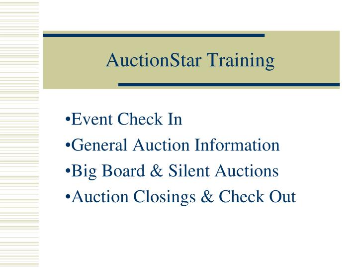 auctionstar training n.