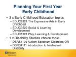 planning your first year early childhood
