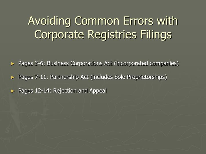 avoiding common errors with corporate registries filings