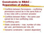 constraints in rbac separation of duties