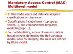 mandatory access control mac multilevel model