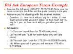 bid ask european terms example1