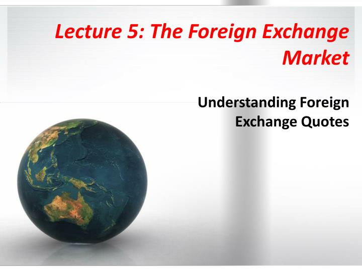 lecture 5 the foreign exchange market n.