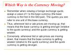 which way is the currency moving