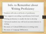info to remember about writing proficiency