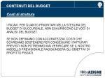 contenuti del budget costi di struttura