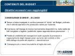 contenuti del budget obiettivi eccessivi non raggiungibili