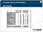 il budget della succursale esercitazione