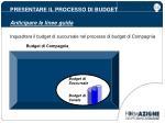 presentare il processo di budget anticipare le linee guida1