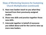 steps of mentoring sessions for sustaining church multiplication continued