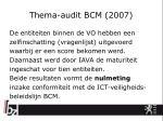 thema audit bcm 2007