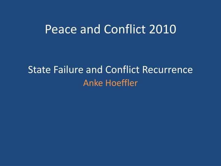 state failure and conflict recurrence n.