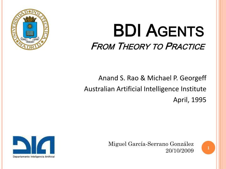 bdi agents from theory to practice n.