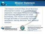mission statement small business development center