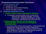 answering communication questions