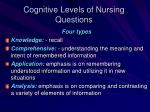 cognitive levels of nursing questions