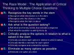 the race model the application of critical thinking to multiple choice questions