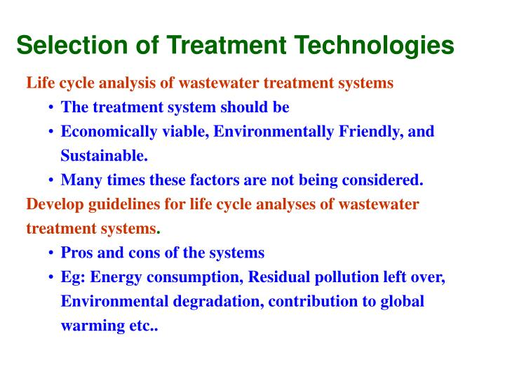 Selection of Treatment Technologies