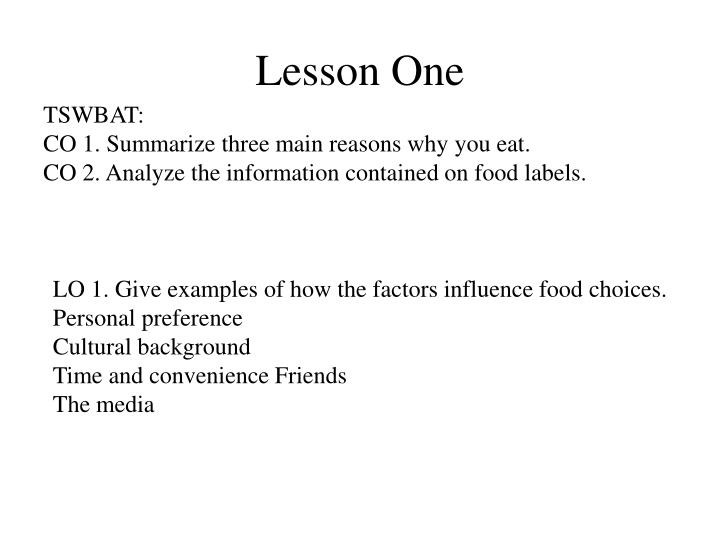 lesson one n.
