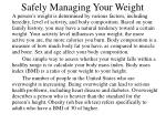 safely managing your weight