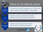 value to the federal sector