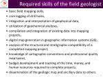required skills of the field geologist