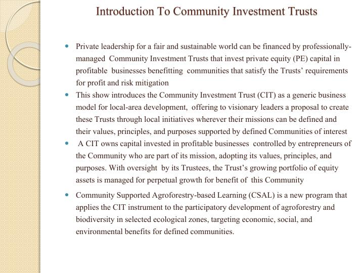 introduction to community investment trusts n.