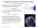 coalescing binaries as standard candles
