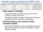 example range of predictions for bns in adv