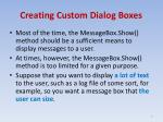 creating custom dialog boxes