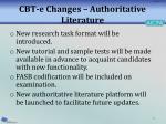 cbt e changes authoritative literature