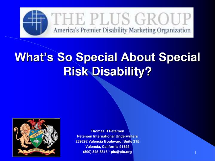 what s so special about special risk disability n.