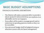 basic budget assumptions1