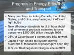progress in energy efficiency and transport