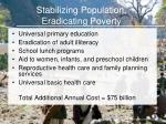 stabilizing population eradicating poverty