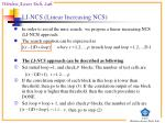li ncs linear increasing ncs