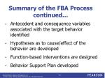 summary of the fba process continued