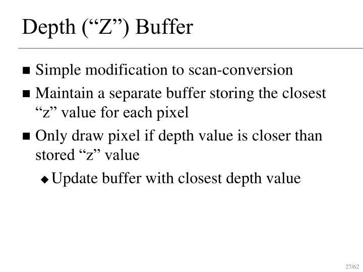 "Depth (""Z"") Buffer"