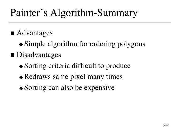Painter's Algorithm-Summary