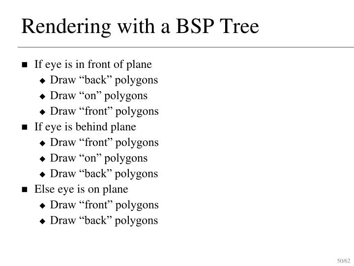 Rendering with a BSP Tree