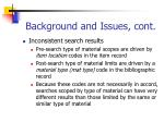 background and issues cont