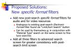 proposed solutions new specific format filters