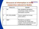 resource of information in initial researches relevant to serbia