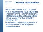 overview of innovations