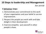 10 steps to leadership and management ken jarrold